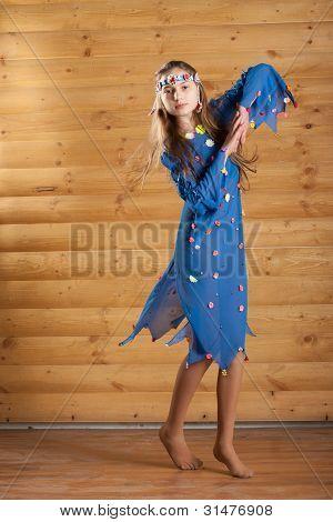 Girl Dancing In Blue Dress