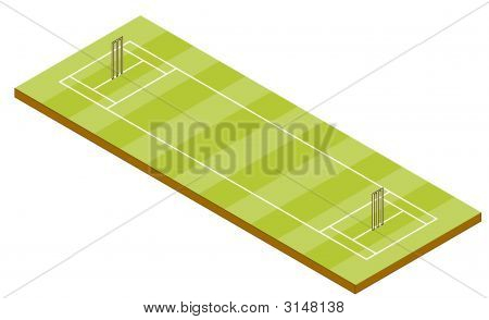 Cricket Pitch In Isometric View