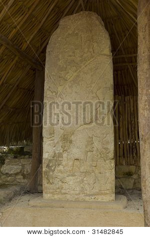 Mayan Glyphs On A Stone Stele
