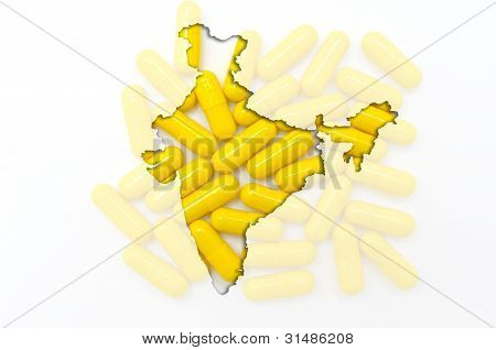 Outline Map Of India With Pills In The Background For Health And Cure