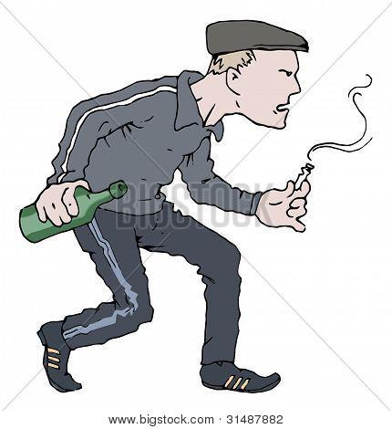 Bêbado e agressivo valentão-fumante