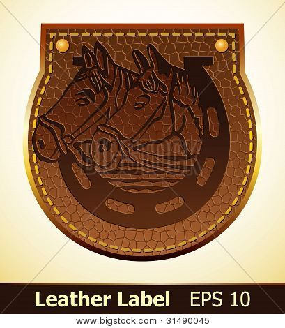 Label from leather with horses