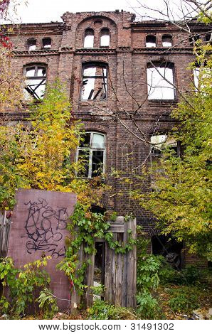 Historical House Ruins In Warsaw
