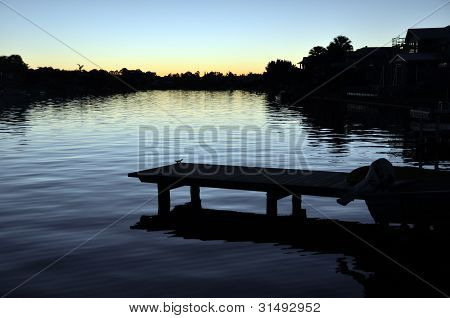 Noosa Waters Canal & Jetty At Sunset, Queensland Australia