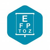 White Placard With Letters Eyesight Testing Icon. Simple Illustration Of White Placard With Letters  poster