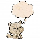 cartoon angry cat with thought bubble in grunge texture style poster