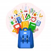 Collection Of School Supplies. Back To School. Stationery For School Or College. School Bag Contents poster