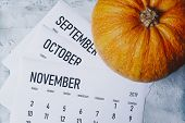 Autumn Months, Fall Season Concept. Three Monthly Calendars Of September, October And November. Top  poster