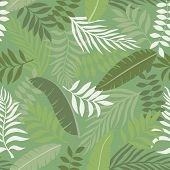 Tropical Background With Palm Leaves. Seamless Floral Pattern. Summer Vector Illustration. Flat Jung poster