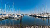 Harbor With Many White Sailing Yachts In Beautiful Summer Weather. Heiligenhafen, Germany poster