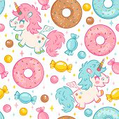 Vector Seamless Pattern With Cute Unicorn And Donuts And Candies. Funny Pattern For Children With Cu poster