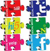pic of  media  - Vector illustration of puzzles on the topic of social media - JPG