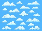 Cartoon Sky Clouds. Cloudscape In Blue Sky Panorama, Different Shapes Of White Clouds, Isolated Vect poster