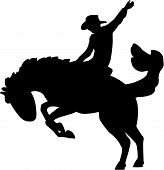foto of bucking bronco  - Vector illustration of a rodeo horse and rider - JPG