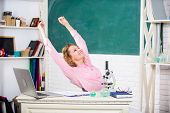 Just Relax. Find Way To Relax At Workplace. School Pedagogue Occupation. Stretching After Hard Worki poster
