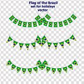 Set For Holidays With Flag Of Brazil. Happy Brazil Day Set. Bright Collection With Flag Of Brazil. I poster