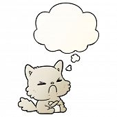 cartoon angry cat with thought bubble in smooth gradient style poster