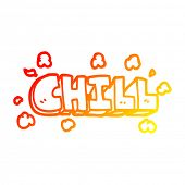warm gradient line drawing of a cartoon chill sign poster