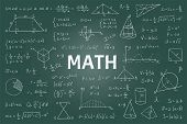 Doodle Math Blackboard. Mathematical Theory Formulas And Equations, Hand Drawn School Education Grap poster
