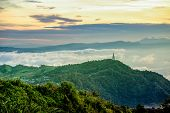 High View Beautiful Nature Landscape Of The Mountain Sky And Forest In The Morning On The Hilltop Vi poster