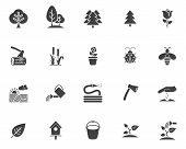 Gardening Vector Icons Set, Modern Solid Symbol Collection, Filled Style Pictogram Pack. Signs, Logo poster