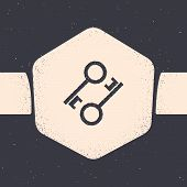 Grunge Cryptocurrency Key Icon Isolated On Grey Background. Concept Of Cyber Security Or Private Key poster