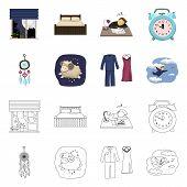 Bitmap Illustration Of Dreams And Night Symbol. Collection Of Dreams And Bedroom Stock Bitmap Illust poster
