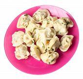 Dumplings On A Pink  Plate Isolated On White Background .boiled Dumplings.meat Dumplings Top Side Vi poster