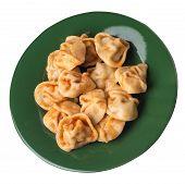 Dumplings On A Green  Plate Isolated On White Background. Dumplings In Tomato Sauce. Dumplings Top S poster