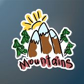 Mountain Expedition Stiker. Logo In Doodle Style. Extreme Exploration Car Decal. Adventure Hiking Cr poster