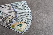 Group Of One Hundred Dollar Notes. Dollar Banknotes Close Up. Several One Hundred Dollar Banknotes M poster