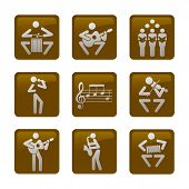 Musicians Web Icons, Buttons. Set Of Nine Brown Web Icons With Musicians. Isolated On White Backgrou poster