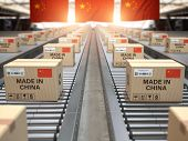 Made in China. Cardboard boxes with text made in China and chinese flag on the roller conveyor. 3d i poster