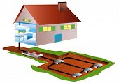 stock photo of land development  - geothermal piping in the basement for a home apparent domestic achitecture - JPG