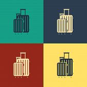 Color Suitcase For Travel Icon Isolated On Color Background. Traveling Baggage Sign. Travel Luggage  poster