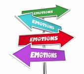 Emotions Feelings Emotional States Arrow Signs Different Directions 3d Illustration poster
