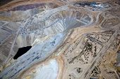 picture of porphyry  - Aerial view of Open Pit Copper Mine near Green Valley Arizona - JPG