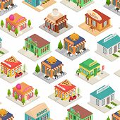 Commercial City Shops Signs 3d Seamless Pattern Background Isometric View. Vector poster