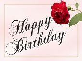 picture of happy birthday card  - Happy Birthday Card with red rose and border - JPG