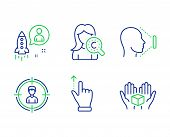 Startup, Collagen Skin And Headhunting Line Icons Set. Touchscreen Gesture, Face Id And Hold Box Sig poster