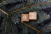 Advent Calendar. Countdown To Christmas. Wooden Numbers. Number Two. Christmas Background. Winter Ba poster