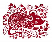 Vector Traditional Papercut Silhouette With Stylized Mouse And Decorative Flowers. Illustration For  poster