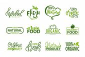 Fresh Vegan Food Label, Green Poster Natural And Herbal Product, 100 Percent Organic, Healthy Produc poster