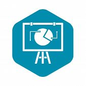 Flip Chart With Statistics Icon. Simple Illustration Of Flip Chart With Statistics Vector Icon For W poster