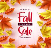 Fall Season Sale Vector Banner Background. Fall Seasonal Sale Text With Colorful Maple And Oak Leave poster