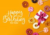 Happy Birthday Vector Background Greeting Card Design. Happy Birthday Typography With Empty Space Fo poster