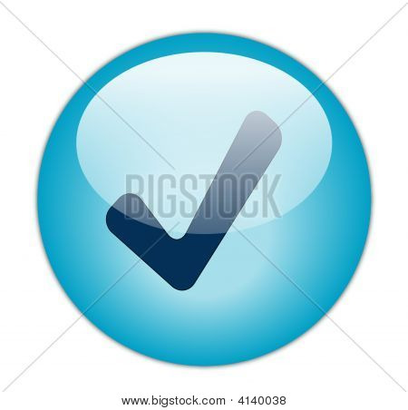 The Glassy Aqua Blue Correct Icon Button