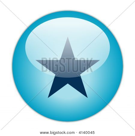 The Glassy Aqua Blue Star Icon Button
