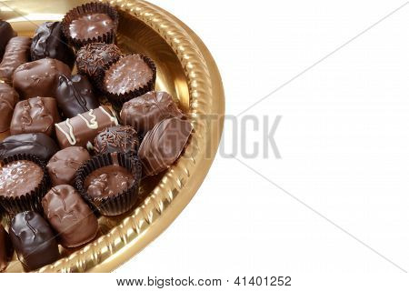 Tray of chocolate candy