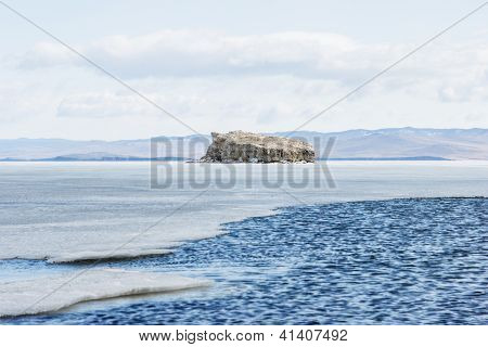 The Stone Island On Baikal In The Winter